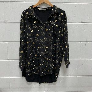Solitaire Ladies Black Butterfly Patterned Blouse